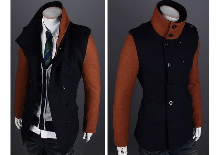 Korean Fashionable Style Turn Down Collar Color Block Double-Breasted Woolen Coat For Men