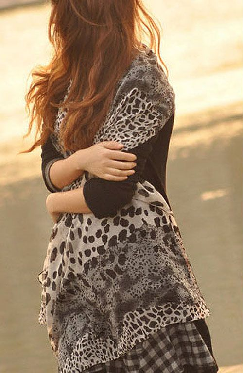 Fashionable Leopard Pattern Decorated Scarf For Women