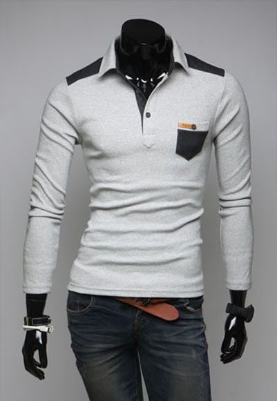 Fashionable Style Shirt Collar PU Leather Splicing Slimming Cotton Polo Shirt For Men