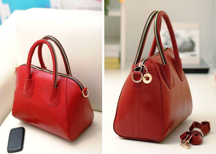 Vintage Solid Color and Zipper Design Women's Handbag