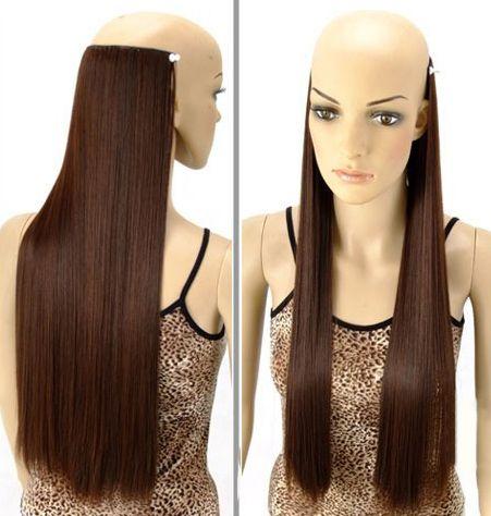 Trendy Long Straight High Temperature Fiber Hair Extension For Women