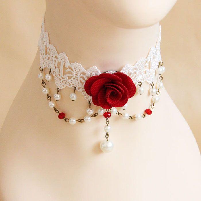 Lace Faux Pearl Design Flower Shape Choker Necklace