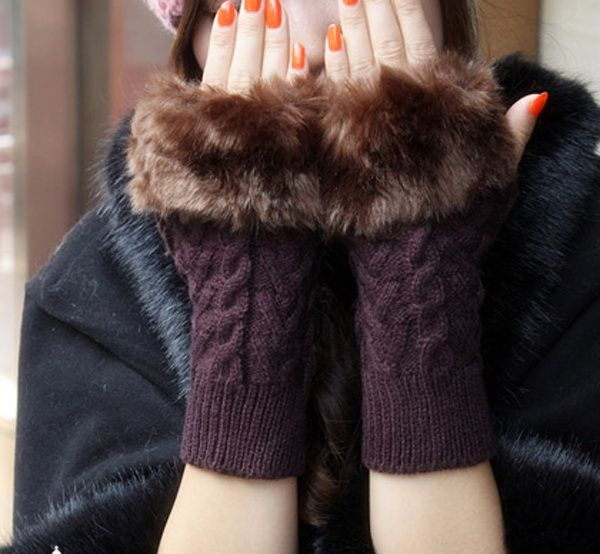 Pair Of Artificial Hair Design Braid Shape Winter Gloves With Exposed Fingers For Women