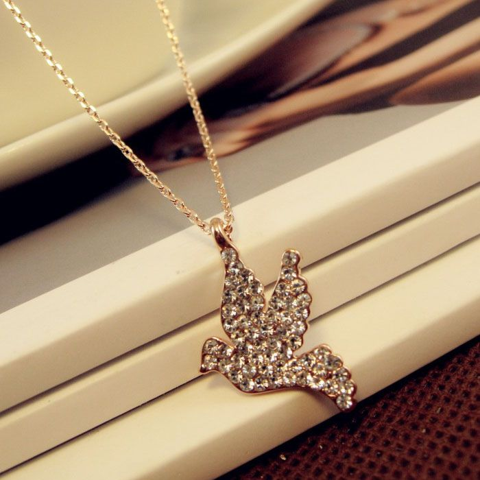 Fashion Fully-Jewelled Peace Dove Pendant Alloy Necklace For Women