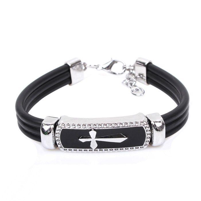 Fashion Cross Embellished Cuff Bracelet For Men