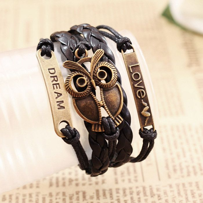 Vintage Night Owl Letter Braided Friendship Bracelet
