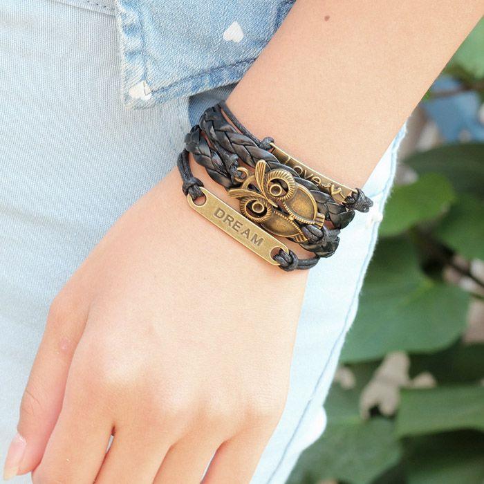 Vintage Night Owl Multilayered Braided Bracelet
