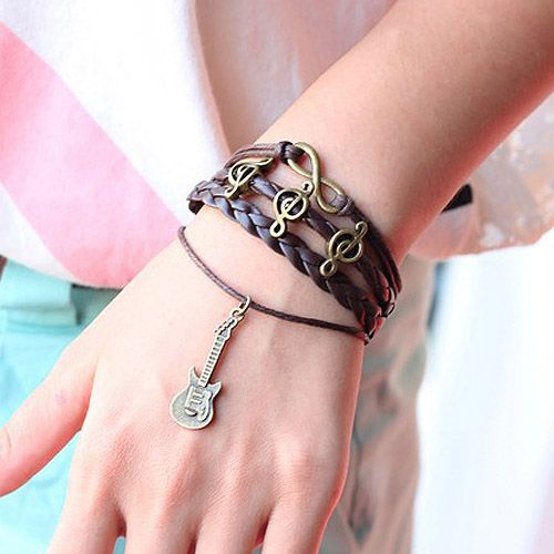 Note Embellished Guitar Pendant Multi-Layered Charm Bracelet