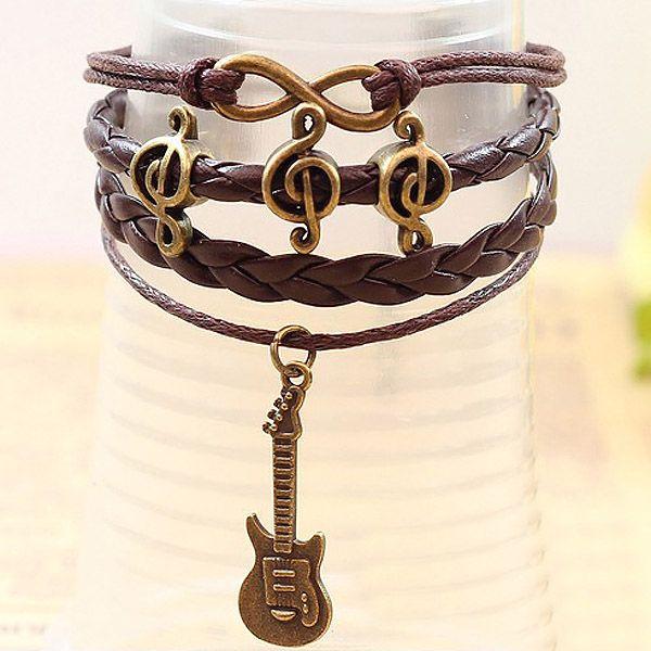 Note Embellished Guitar Pendant Multi-Layered Charm Bracelet