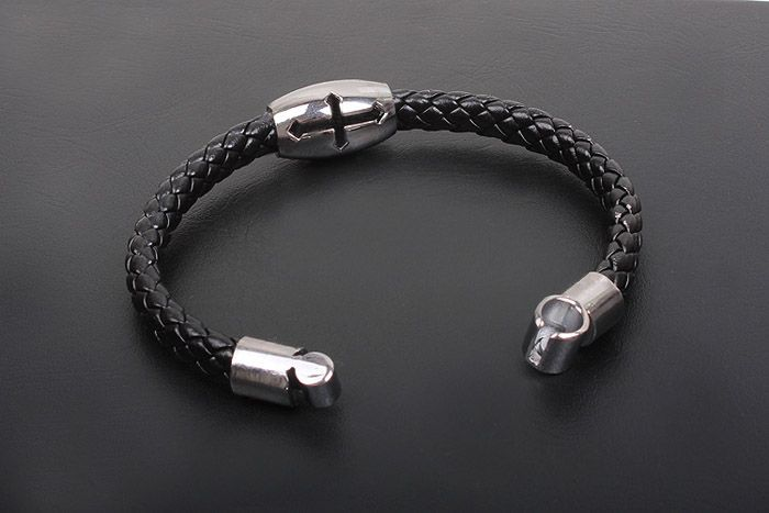 Simple Hollow Cross Embellished Knitting Design PU Leather Cuff Bracelet For Men
