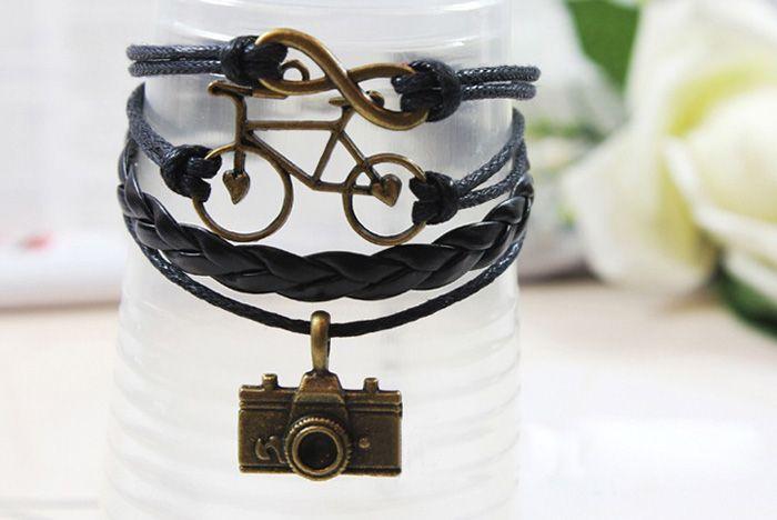 Vintage Infinity Bike Camera Multilayered Friendship Bracelet