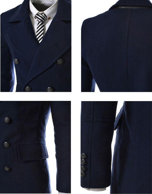 Fashion Style Turndown Collar Slit Back Design Woolen Long Sleeves Pea Coat For Men