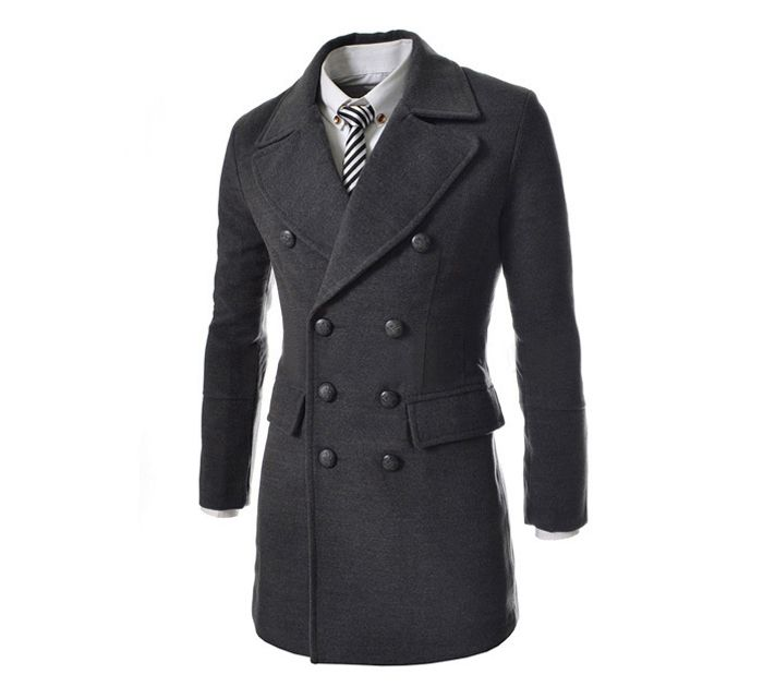 Fashion Style Turndown Collar Slit Back Design Woolen Long Sleeves Pea Coat For Men