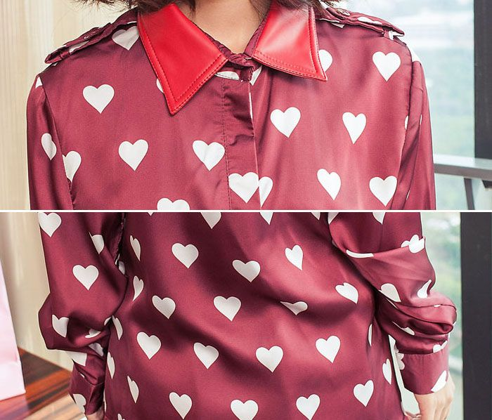 Elegant Polo Collar Heart Print Long Sleeves Women's Blouse