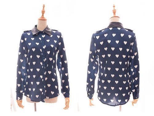 Elegant Polo Collar Heart Print Long Sleeves Women's Blouse