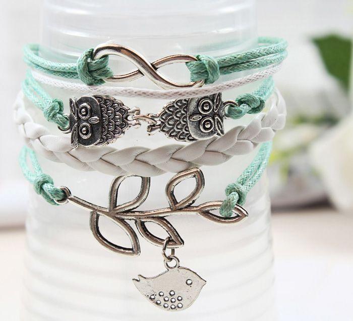 Retro Bird Leaf Decorated Bracelet