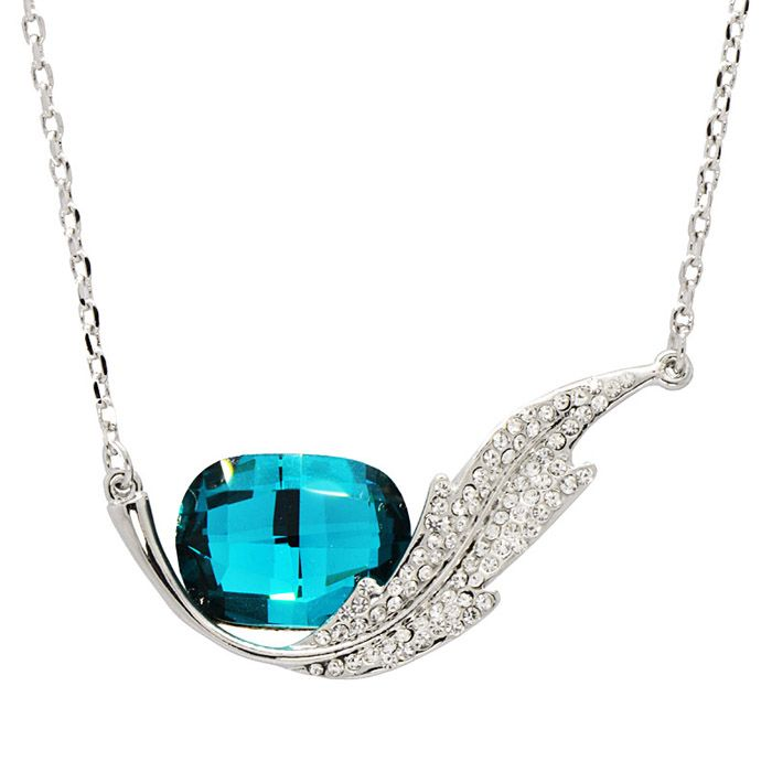 Rhinestoned Faux Crystal Feather Shape Pendant Necklace