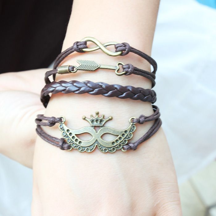 Punk Mask Crown Arrow Bracelet