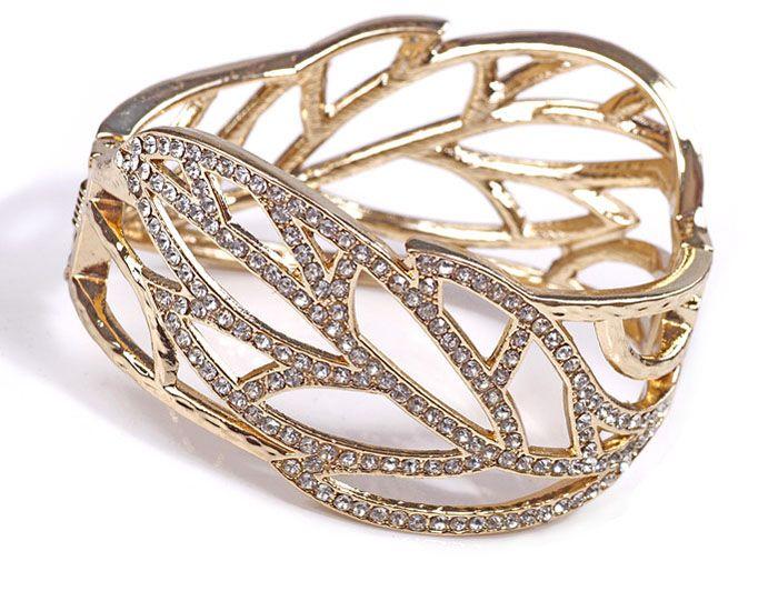 Rhinestoned Openwork Leaf Shape Alloy Bracelet