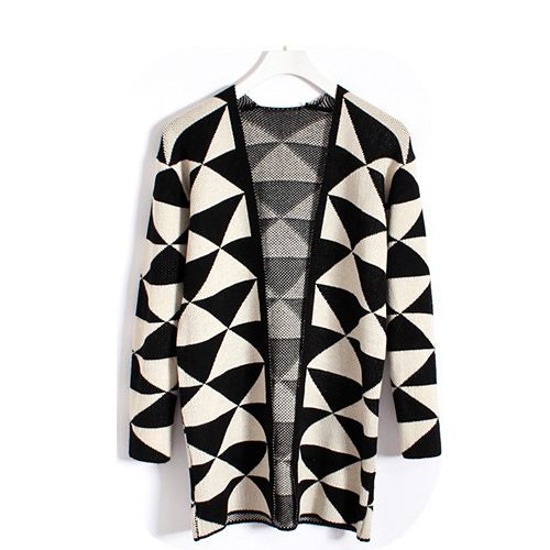 Vintage Checked (Triangle Pattern) Long Sleeves Women's Cardigan