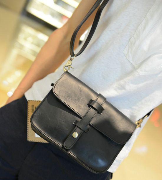 Trendy PU Leather and Solid Color Design Men's Messenger Bag