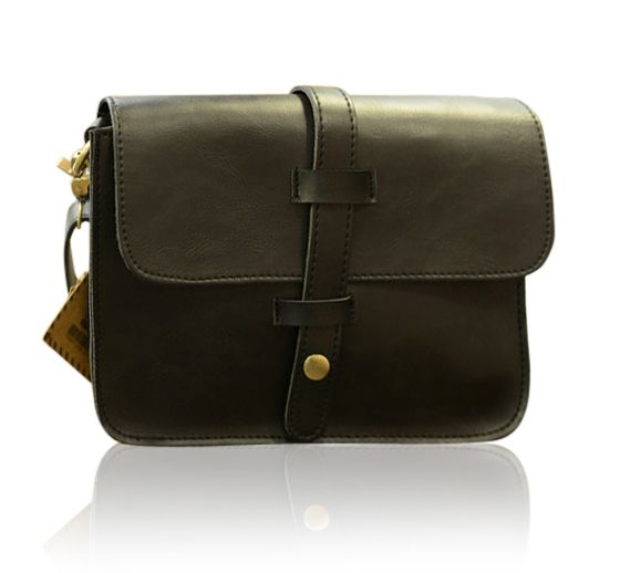 Trendy PU Leather and Solid Color Design Men's Messenger Bag