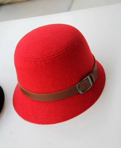Chic Style Belt Shape Design Solid Color Bucket Hat For Women