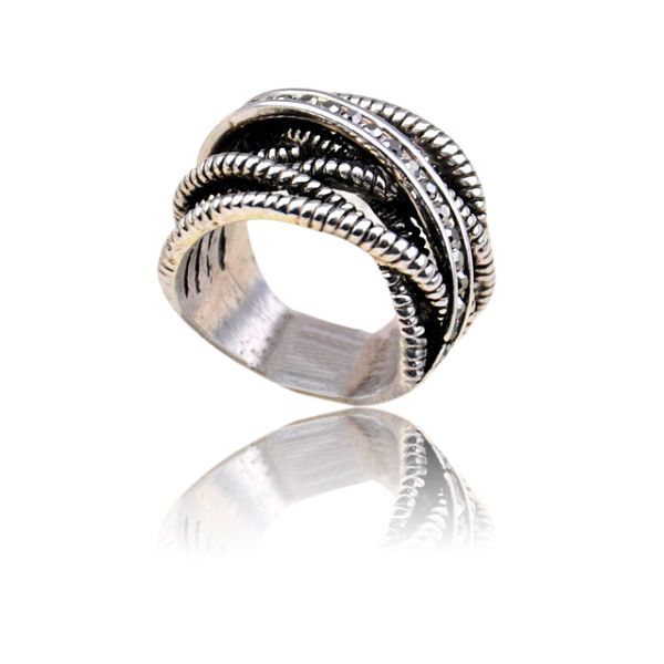 Vintage Cross Hollow Out Design Alloy Ring