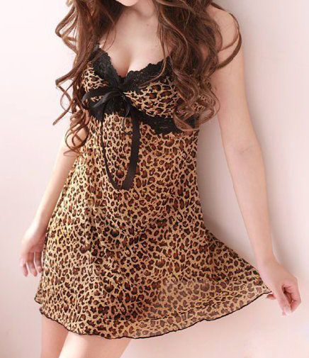 Spaghetti Straps Low-Cut Off Breast Lace Bordered Bow Tie Leopard Pattern Sexy Women's Baby Doll
