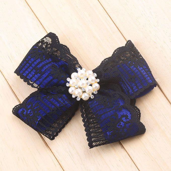 Lace Faux Pearl Flower Shape Brooch