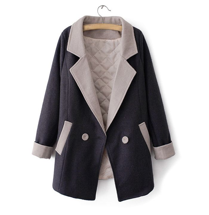 Fashionable Lapel Neck Color Matching Double-Breasted Long Sleeve Coat For Women