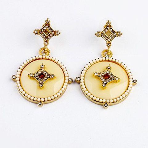 Pair of Round Pendant Diamante Beaded Earrings