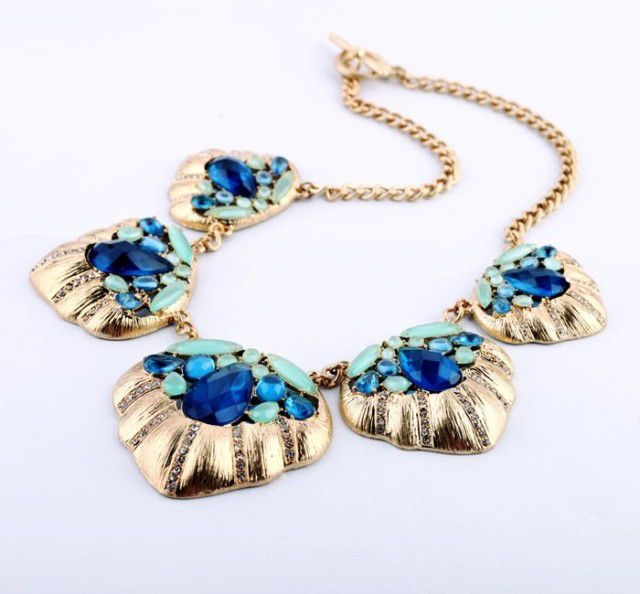 Punk Multi-Colored Faux Crystal Embellished Pendant Alloy Necklace For Women