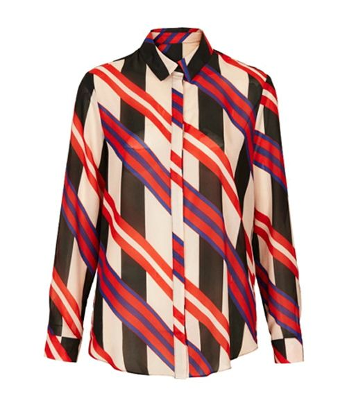 Street Polo Collar Color Matching Stripe Long Sleeves Women's Blouse