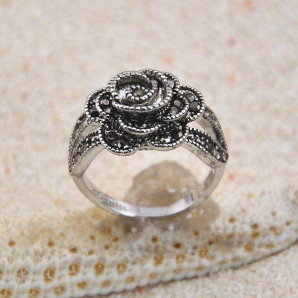 Vintage Diamante Rose Embellished Alloy Ring