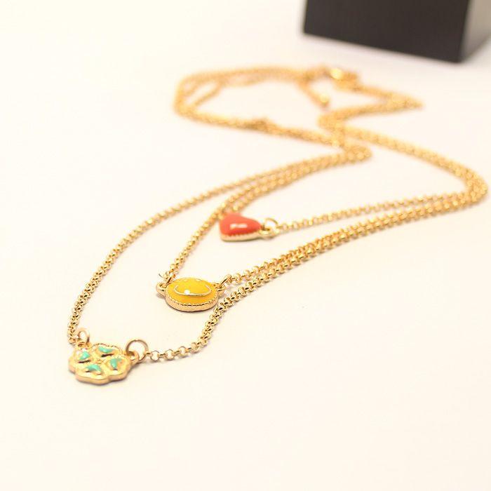 Leaf Smiling Face Heart Shape Multilayered Necklace