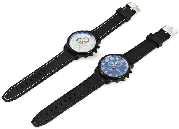 WEIJIEER Quartz Watch with 8 Numbers and Circles Indicate Rubber Watch Band for Men