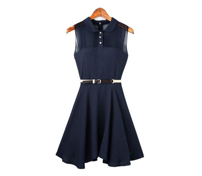 Charming Turn-Down Collar Single-Breasted Back Zipper Chiffon Splicing Sleeveless Pleated Dress For Women