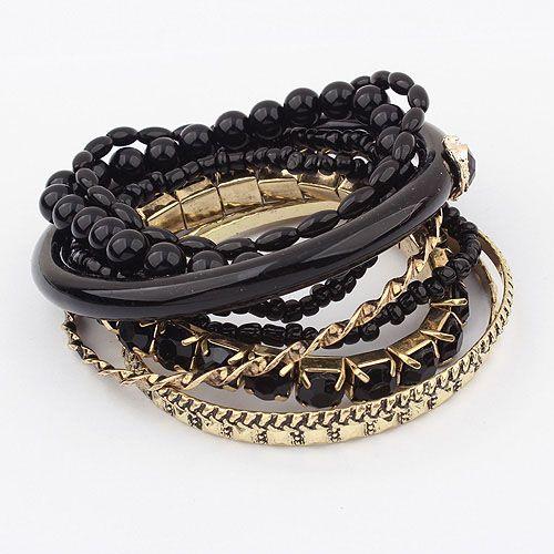 9PCS of Ethnic Style Strings Embellished Multi-Layered Bracelets