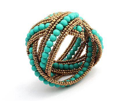 Bohemian Bicolor Crossed Beading Cuff Bracelet