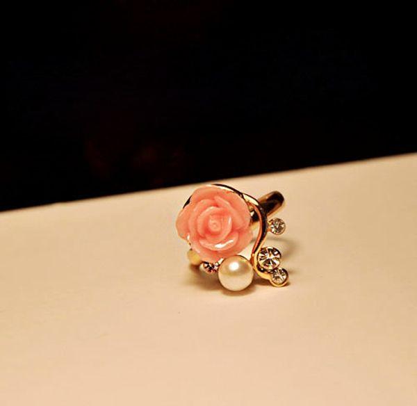 Beads Rhinestone Rose Flower Ring