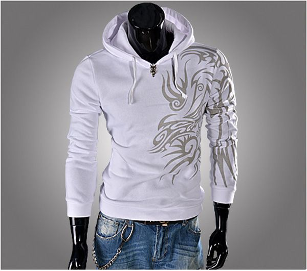 Stylish Personalized Print Long Sleeves Polyester Hoodies For Men