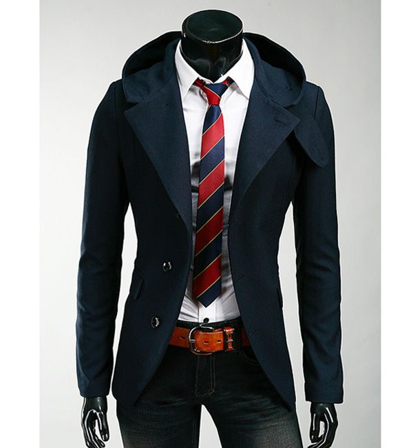 Korean Style Hooded Solid Color Single-Breasted Long Sleeves Men's Polyester Coat
