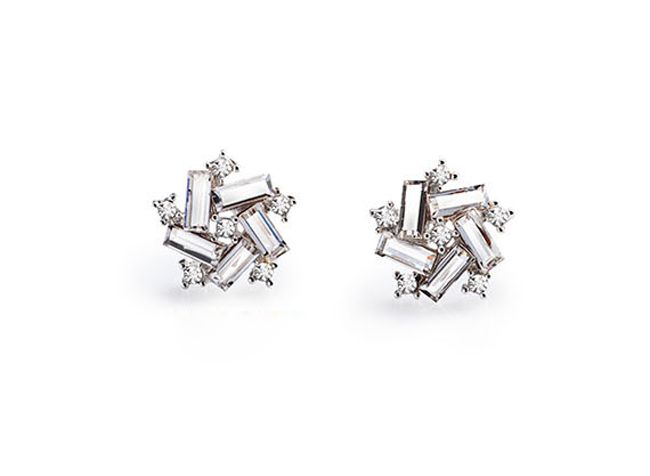 Pair of Cute Crystal Irregular Star Earrings For Women
