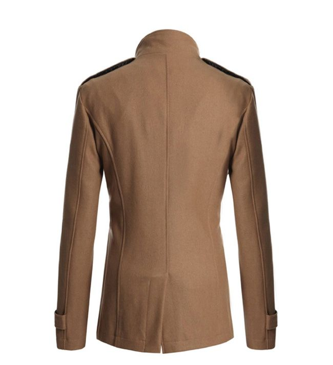 Korean Style Turndown Collar Solid Color Double-Breasted Long Sleeves Men's Polyester Trench Coat