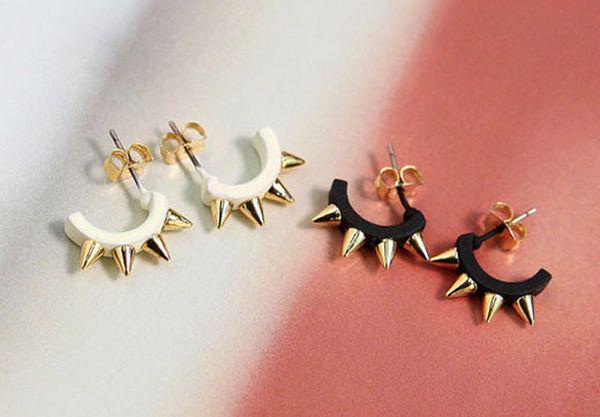 Pair of Punk Rivet Camber Shape Earrings For Women