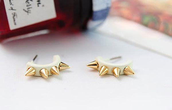 Pair of Punk Rivet Camber Shape Stud Earrings