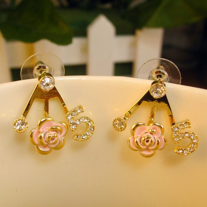 Pair of Diamante Rose Number Embellished Earrings