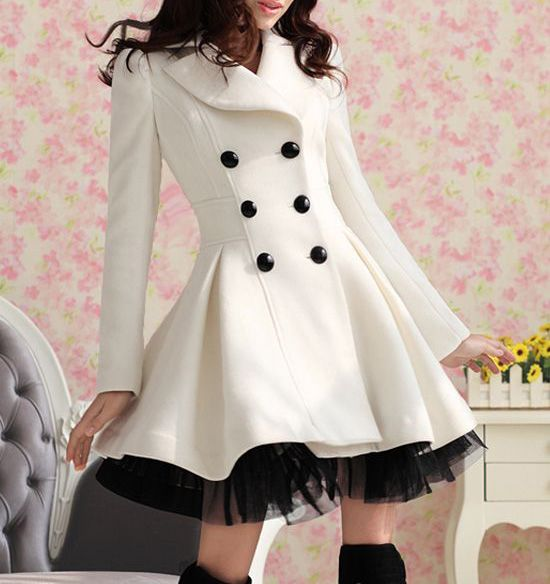 Long Sleeves Lapel Double-breasted Beam Waist Voile Stitching Plicated Ruffles Long Edition Ladylike Women's Coat