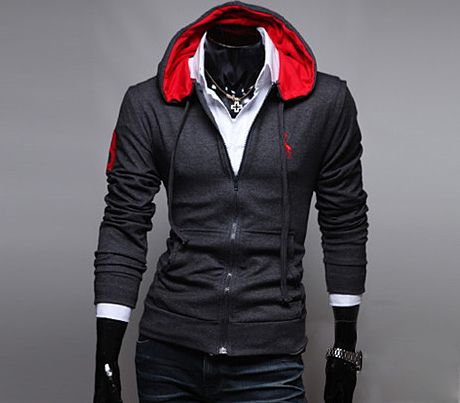 Casual Style Embroidery Deer Long Sleeves Men's Polyester Hoodies